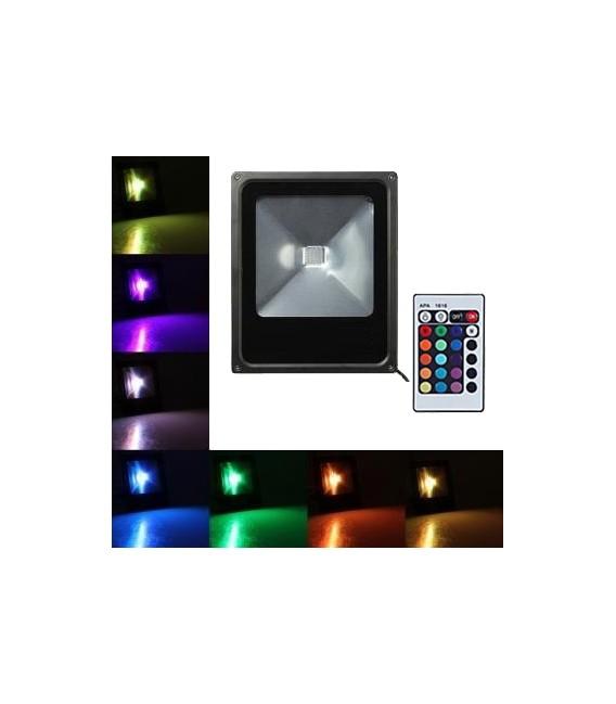 PROIETTORE LED 30W RGB SOTTILE  +RADIOCOMANDO