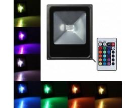 PROIETTORE LED 50W RGB SOTTILE + RADIOCOMANDO