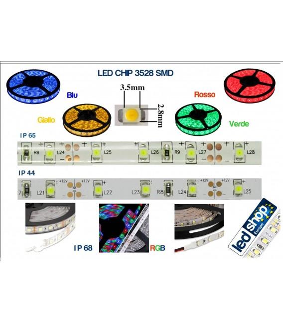 STRISCIA LED 3528-60LED/MT RGB 5mt 12V IP44  NON RESINATO