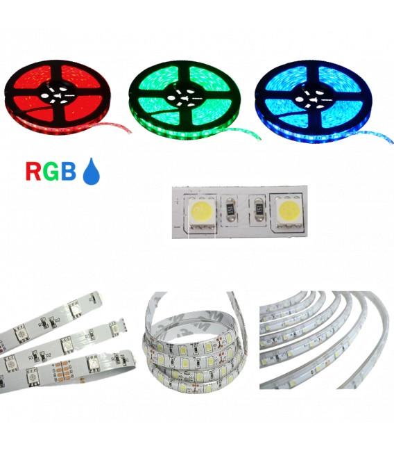 STRISCIA LED 5050-60LED/MT RGB 5mt 12V IP65 RESINATO RGB