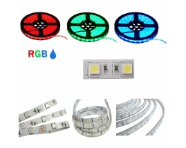 STRISCIA LED 5050-60LED/MT RGB 5mt 12V IP65 RESINATO RGB