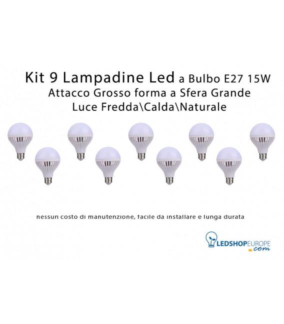KIT 9 Lampadine Led 15 W a Globo Attacco Grande E27 Luce FreddaCaldaNaturale