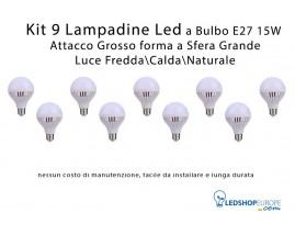 KIT 9 Lampadine Led 15 W a Globo Attacco Grande E27 Luce Fredda - Calda - Naturale