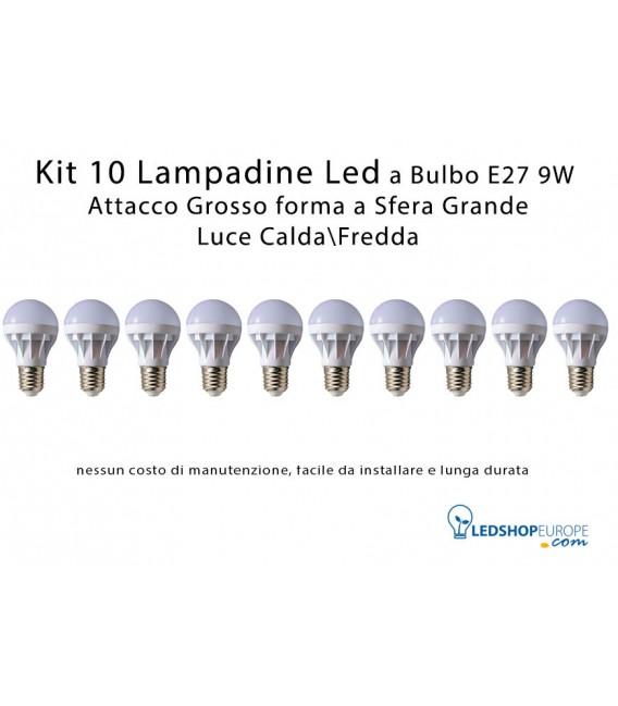 KIT 10 Lampadine Led 9W a Sfera Attacco Grande E27 Luce CaldaFredda