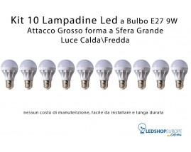 KIT 10 Lampadine Led 9W a Sfera Attacco Grande E27 Luce Calda - Fredda