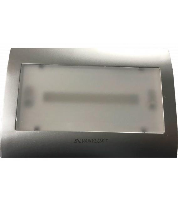 Segnapasso LED cassetta 503 con Lampada di EMERGENZA INTEGRATA - Luce Naturale COVER GRIGIA