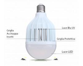 Lampadina E27 ZANZARAKILLER 10W 4 in1 - 2° Generazione 12 LED - illumina ed elimina Insetti